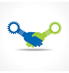 Businessman handshake with gear stock vector