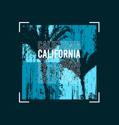 california t-shirt design with palm trees at blue vector image