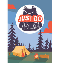 camping time poster ilustration night vector image