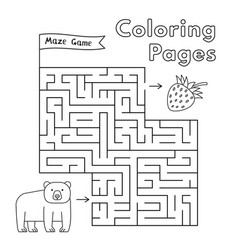 cartoon bear maze game vector image