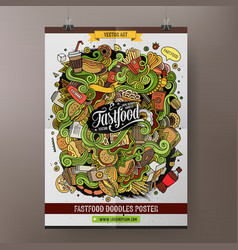 Cartoon doodles Fast food poster template vector image