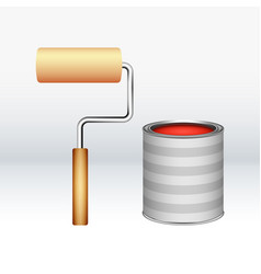 cartoon red paint bucket with and paint brush vector image