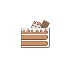 Chocolate layer cake with topping vector