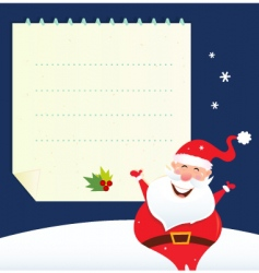 christmas santa and blank note vector image