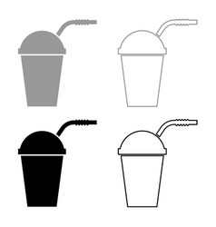 closed container for hot cold drinks with straw vector image