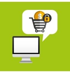 Computer protection money coin icon design vector