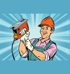 construction worker with jigsaw vector image