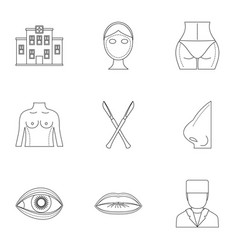 Cosmetic surgery icon set outline style vector