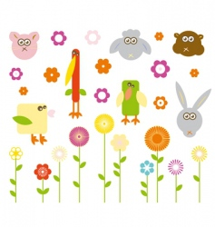 Cute animals and flowers vector