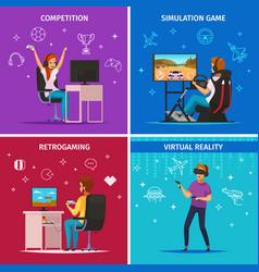 cybersport cartoon characters concept vector image