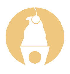 Delicious ice cream basket vector