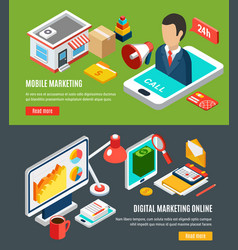 digital marketing isometric banners vector image