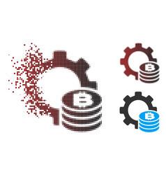 Dispersed pixel halftone bitcoin industry gear vector