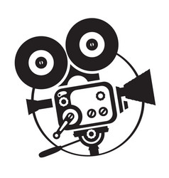 drawing old fashioned movie camera vector image