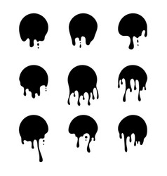 dripping paint icon set current liquid paint vector image