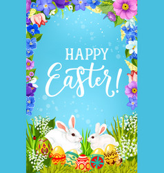 Easter eggs and bunnies in spring flower frame vector