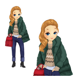 Fashion girl in green jacket vector