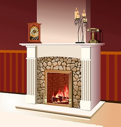 fireplace with a fire burning vector image