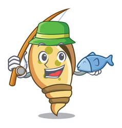 Fishing sea shell mascot cartoon vector