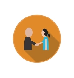 Flat icon of handshake between friends vector