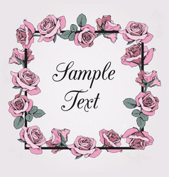 floral frame with sample text on beige background vector image