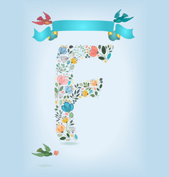 Floral letter f with blue ribbon and three doves vector