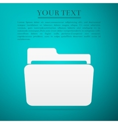 Folder flat icon on blue background Adobe vector