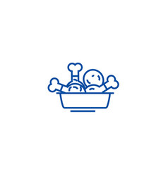 Fried chicken meal line icon concept fried vector