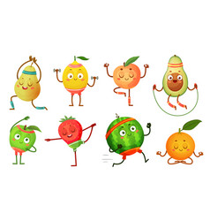Fruit characters yoga fruits in fitness exercises vector