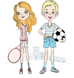 Girl with a tennis racket and sports boy with ball vector