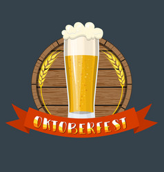 glass of beer on a wooden barrel vector image