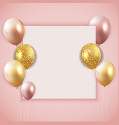 Glossy happy birthday balloons background with vector