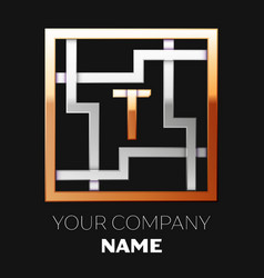 golden letter t logo symbol in the square maze vector image