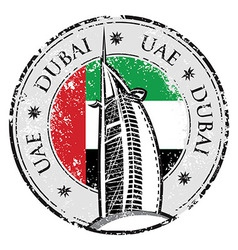 Grunge stamp with the flag and town Dubai emirate vector image