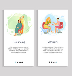 Hair styling and manicure manicurist stylist vector