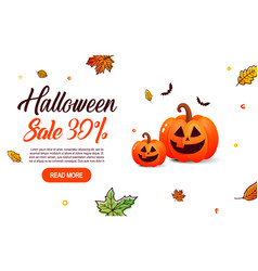 Halloween sale with pumpkin vector