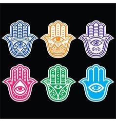 Hamsa hand Hand of Fatima - amulet symbol of pro vector image