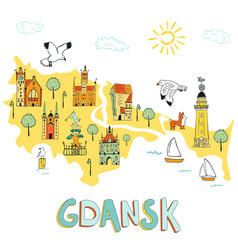 hand drawn map gdansk poland vector image