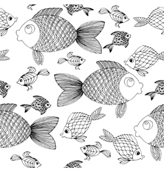 Hand drow fish background vector