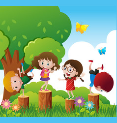 Happy children play in park vector