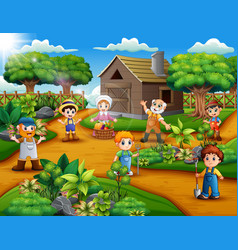 happy farmers group and gardener at the farm area vector image