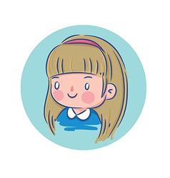 Happy Little Girl in Blue Shirt vector image