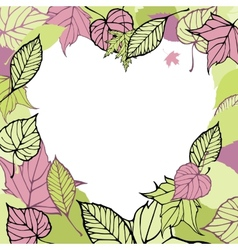 Heart-shaped frame made of autumn leaves Romantic vector image