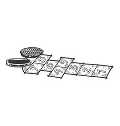 hopscotch and open manhole sketch engraving vector image