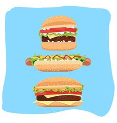 Hotdog and hamburger vector