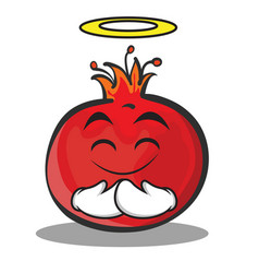 Innocent face pomegranate cartoon character style vector
