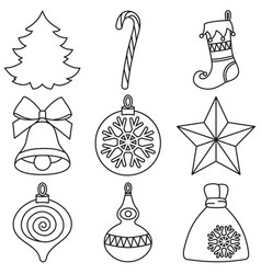 line art black and white 9 christmas elements set vector image