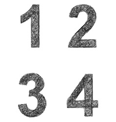 Line art font set - numbers 1 2 3 4 vector