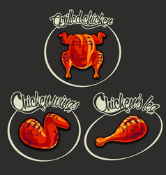 Logo set for grilled chicken menu vector