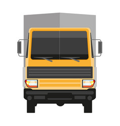 Lorry with grey trailer isolated on white front vector